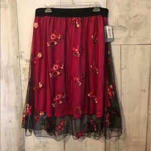 LuLaRoe XL Lola skirt. Magenta w/floral layer.